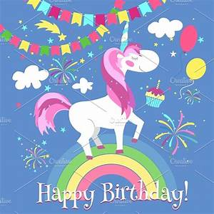 Happy birthday card with unicorn ~ Illustrations