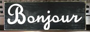 BONJOUR French HELLO Welcome Sign Plaque Wooden Paris ...