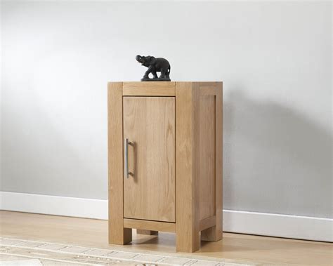 Natural Oak Wood Small Cabinet With Single Door Using Gray