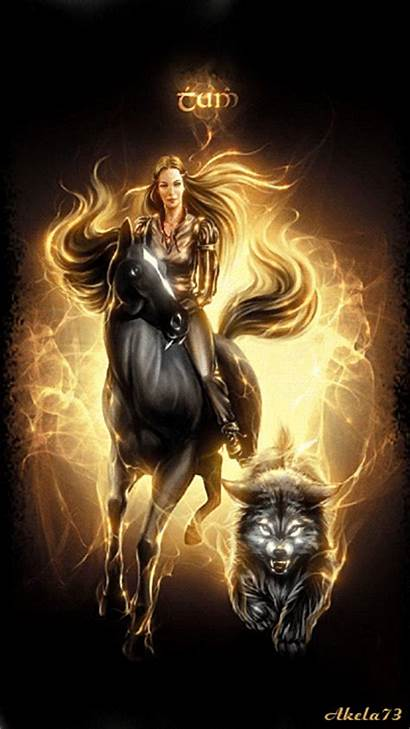 Wolf Fantasy Animation Horsewoman Wolves Gifs Animated