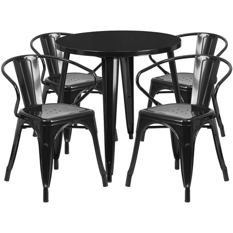 30 black metal indoor outdoor table set with 4 arm