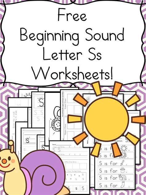 18 Free Beginning Sound Letter S Worksheets  Easy Download!  Worksheets, Kindergarten And Students