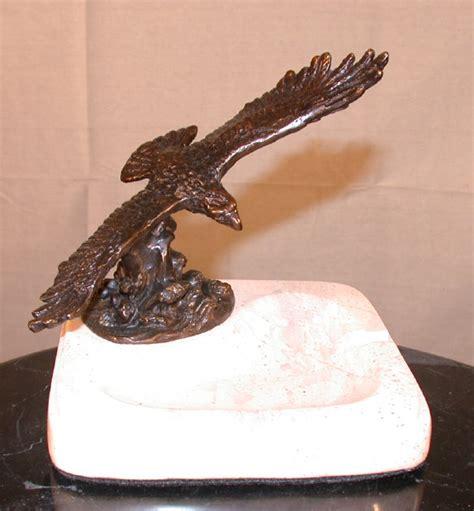 bronze eagle figurine perched  marble ashtray