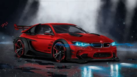 Sports Car Background by Wallpaper Bmw M4 Custom Cgi Neon Sport Car Hd 4k