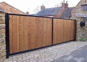 Steel framed timber clad automatic sliding gate Vernon