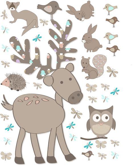 chambre taupe sticker géant cerf et animaux de la forêt