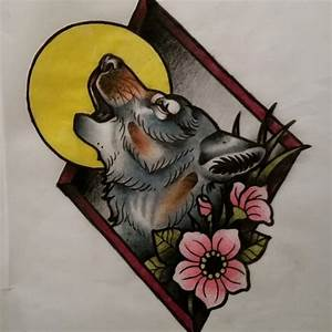 Multicolor new school howling wolf in rhombus frame tattoo ...