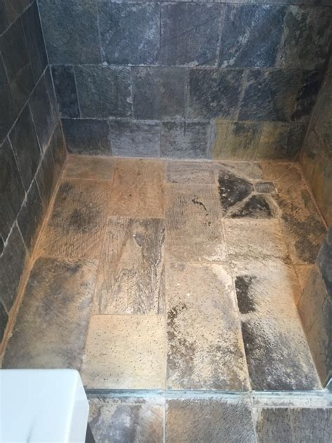 Slate Tiled Shower Cubicle Ruined by Limescale Renovated