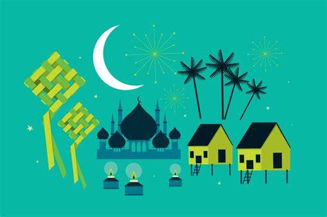 hari raya elements vector illustrations creative market