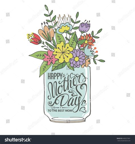 mothers daytypographic cardlettering heartdoodle flowers