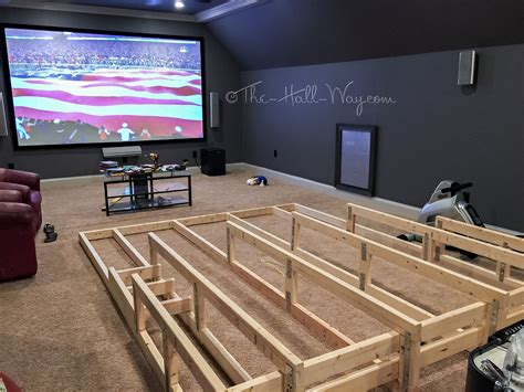 media home theater riser diy i would add running lights each stair for soft lighting and