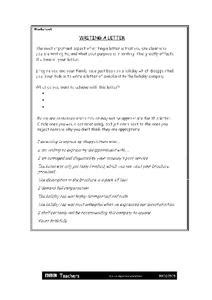 Writing a Complaint Letter Lesson Plans & Worksheets