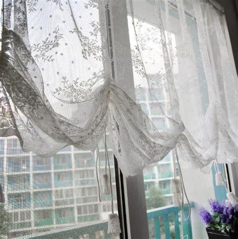 DIAIDI Rural Sheer Curtains Lace, Hollow Balloon Blinds