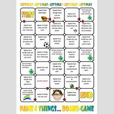 Name Four Things Board Game Worksheet  Free Esl Printable Worksheets Made By Teachers