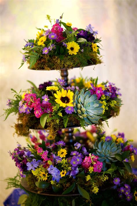 towering sunflower succulent wildflower reception decor