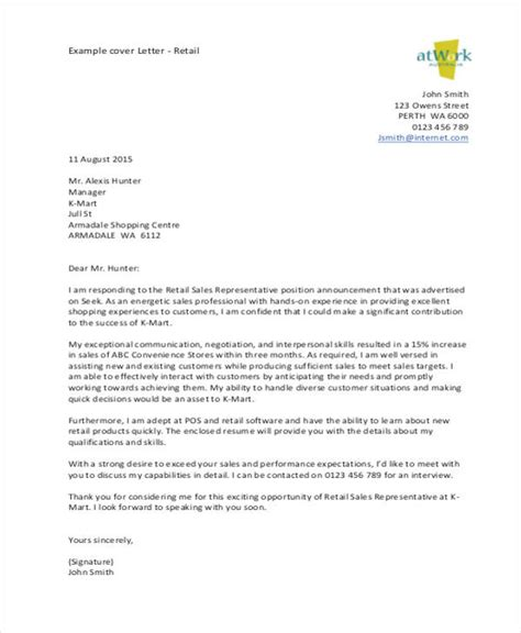 Cover Letter For Retail Sales by Retail Sales Cover Letter Tipsense Me