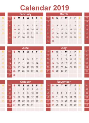 printable   month calendar template  word excel