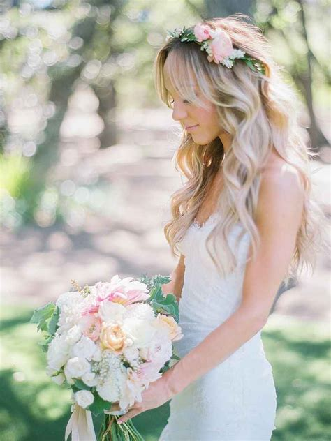 wedding hairstyles  long hair  flowers