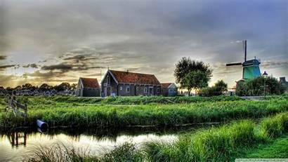 Village Outskirts Hdr Holland Countryside Wallpoper Water