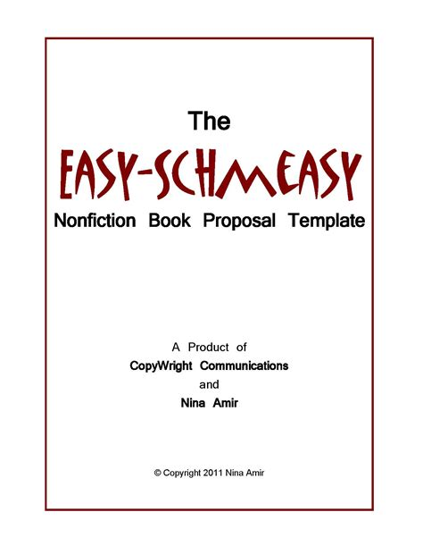 easy schmeasy book proposal template write nonfiction
