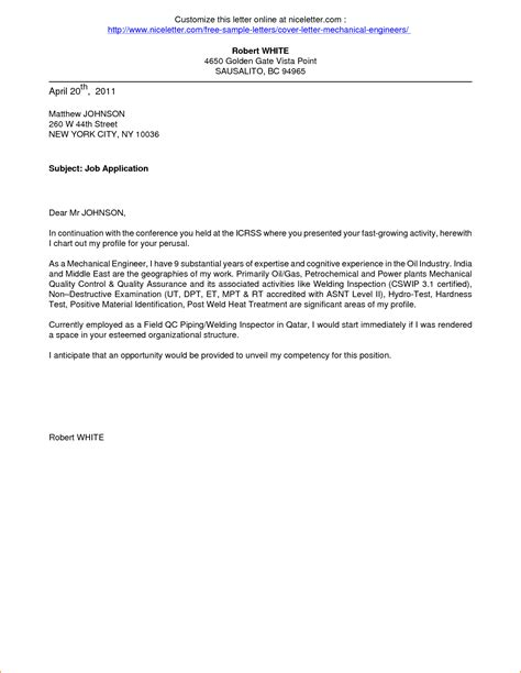 application  employment cover letter application