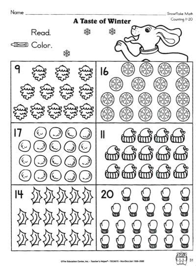 taste  winter counting   counting worksheets