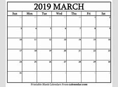 Blank March 2019 Calendar Templates Calenndarcom
