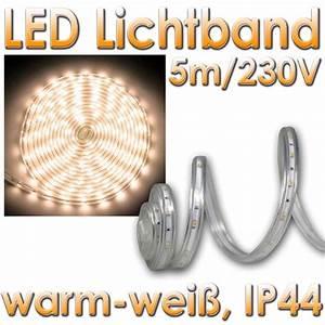 Led Lichtband Dimmbar : 10 50 m 5m led streifen flexibel warmwei 230v dimmbar ip44 lichtband stripe ebay ~ Watch28wear.com Haus und Dekorationen