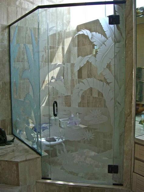 tropical palms lilly pad shower enclosure glass shower