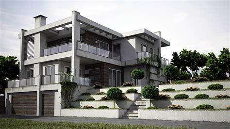 3d Lichtstudie Moderner Einer Architektur Aus Beton Und Glas