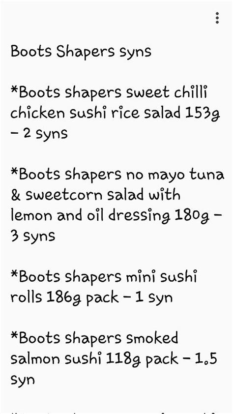 Boots shapers syns   SlimmingWorld   Pinterest   Healthy