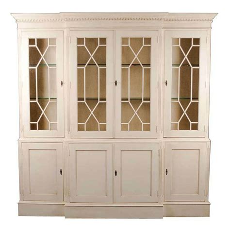 White Bookcase Cabinet by Antique Style White Painted Breakfront Bookcase