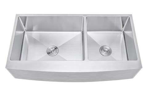 42 inch stainless steel farmhouse sink ariel 42 inch 60 40 offset double bowl farmhouse apron