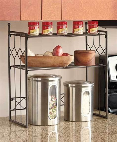 Bronze 2tier Shelf Kitchen Counter Space Saver Cabinet