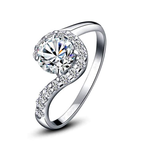 high quality white gold plated cubic zirconia ring for