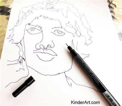 blind contour drawing drawing lessons  kids kinderart