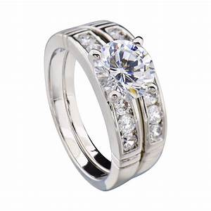 19 carats round cubic zirconia rhodium ep bridal With rhodium wedding ring sets