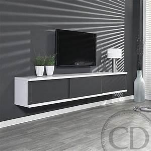 Meuble Gris Et Blanc : meuble suspendu laque gris ~ Teatrodelosmanantiales.com Idées de Décoration