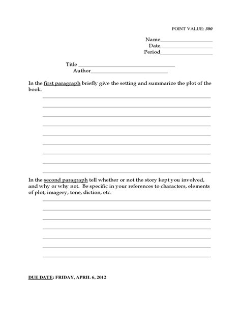grade reading book report template