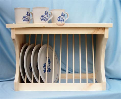 plate rack wood wooden wall mount  counter  plate