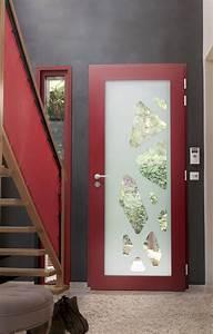 porte d39entree lapeyre rouge et vitree photo 2 20 si With porte d entrée alu avec vitre pour salle de bain