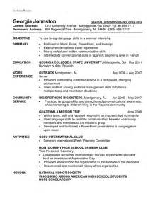 Working Knowledge Of A Language Resume exle resume exle student athlete resume