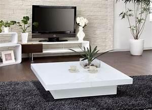 Table Basse Rectangulaire Blanche : table basse blanche pour salon en 20 exemples magnifiques ~ Teatrodelosmanantiales.com Idées de Décoration