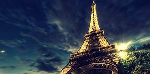 Eiffel tower on background of blue night sky wallpapers ...