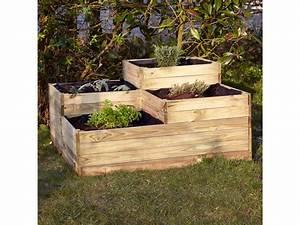 Bac Bois Potager : carr potager 4 bacs en bois conforama ~ Melissatoandfro.com Idées de Décoration