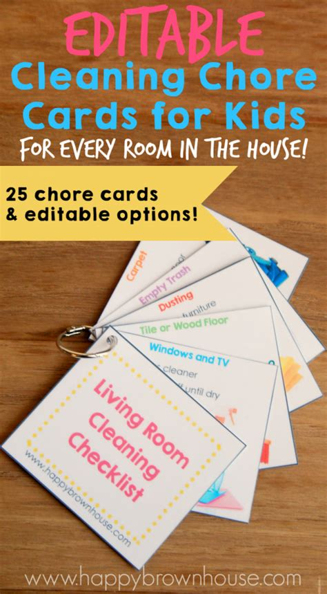clean laminate editable chore cards for brown house