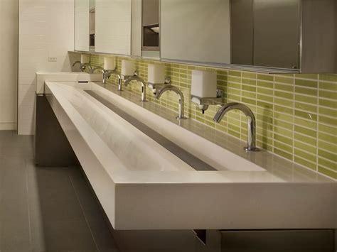 Modern Stainless Steel Bathroom Sinks by 200 Fifth Ave Trough Sink Office Space Bathroom