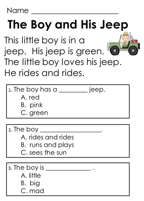 2nd grade reading comprehension worksheets choice