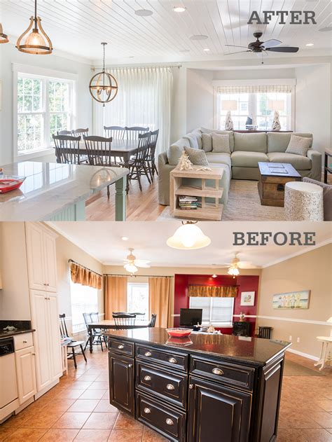 Living Room Remodels by Before After Photos Of A Surfside Vacation Home