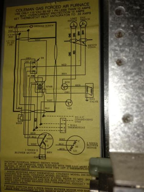 Coleman Furnace Thermostat Wiring Diagram by Rewiring Coleman Furnace For Filtrete 3m50 Thermostat